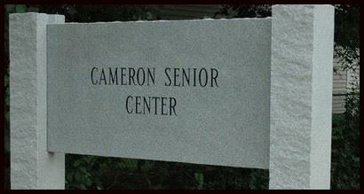 Cameron Senior Center Stone Sign