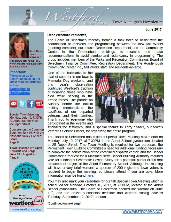 Town Manager Newsletter June 2017 front page