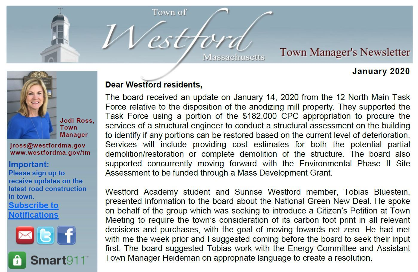 Jan 2020 Town Manager's Newsletter