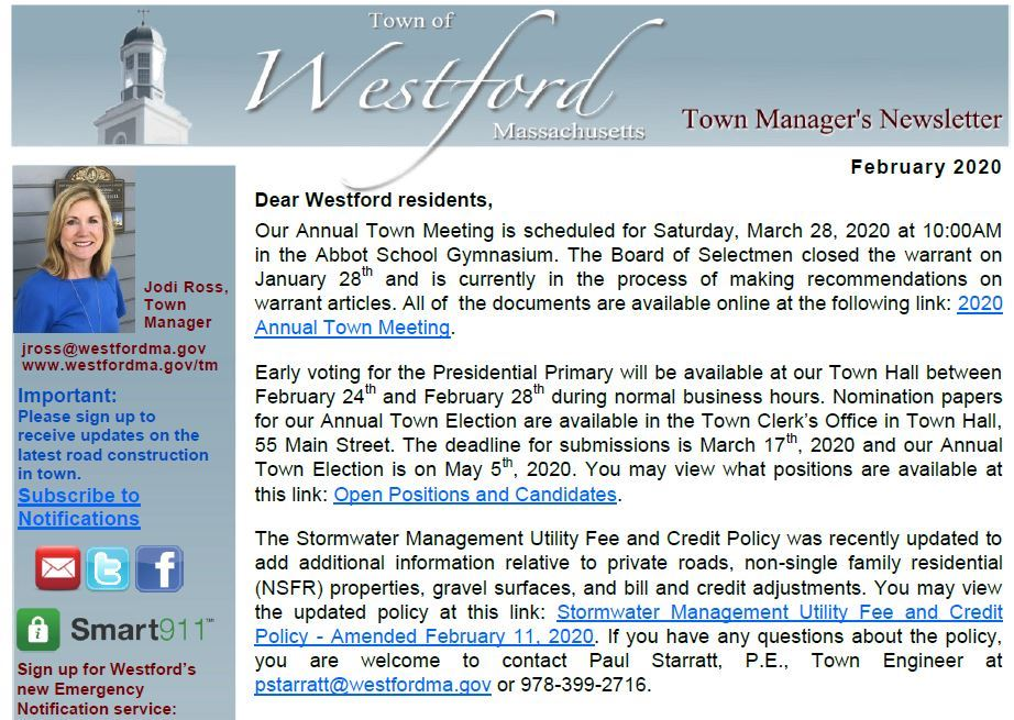 February 2020 Town Manage's Newsletter