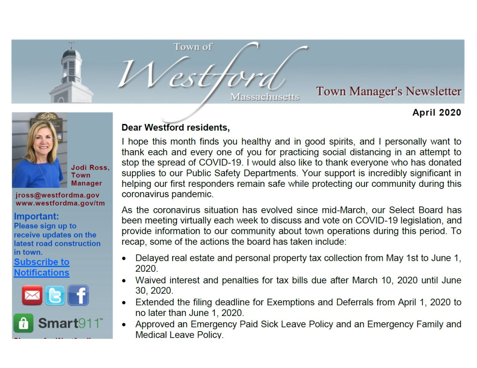 Town Manager's Newsletter April 2020 Thumbnail link