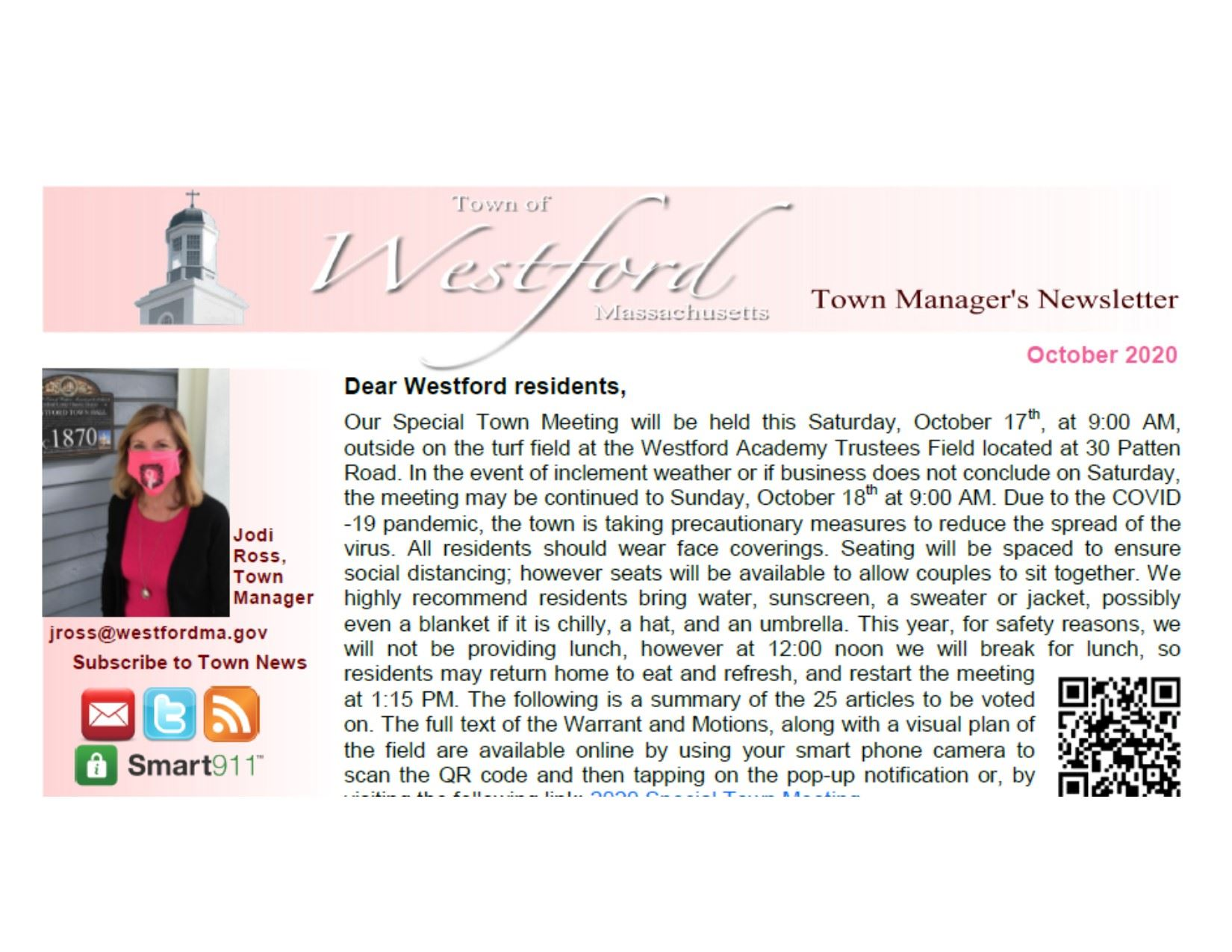 October 2020 Westford Town Manager's Newsletter