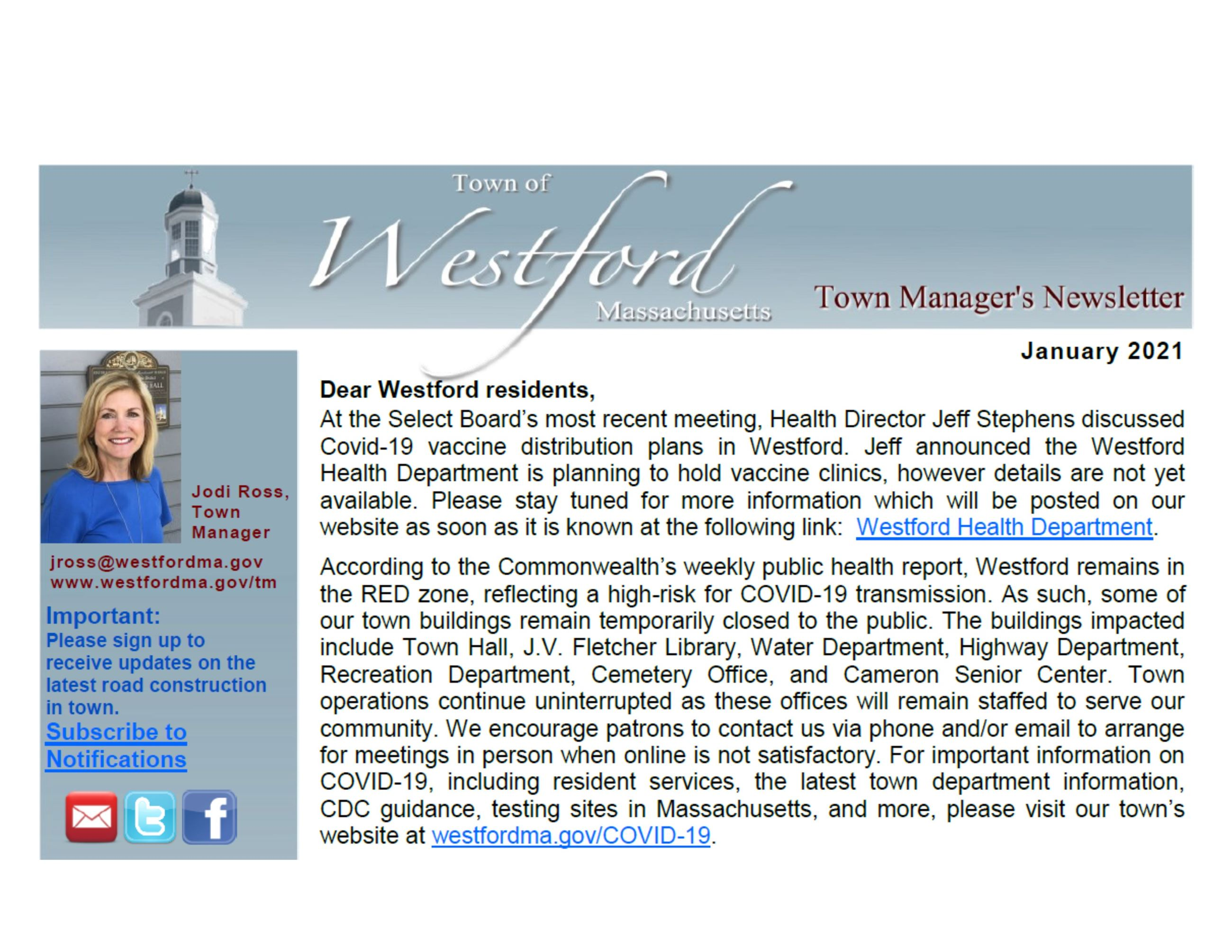 Westford Town Manager's January 2021 Newsletter