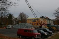 Roof Being Lifted on New Addition