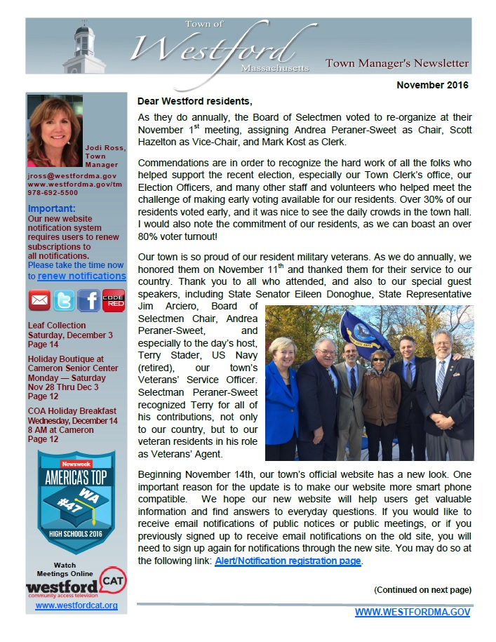 Front page of November 2016 Town Manager's Newsletter